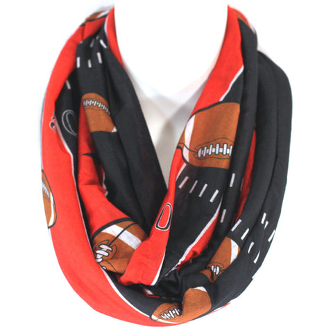 RED AND BLACK FOOTBALL INFINITY SCARF