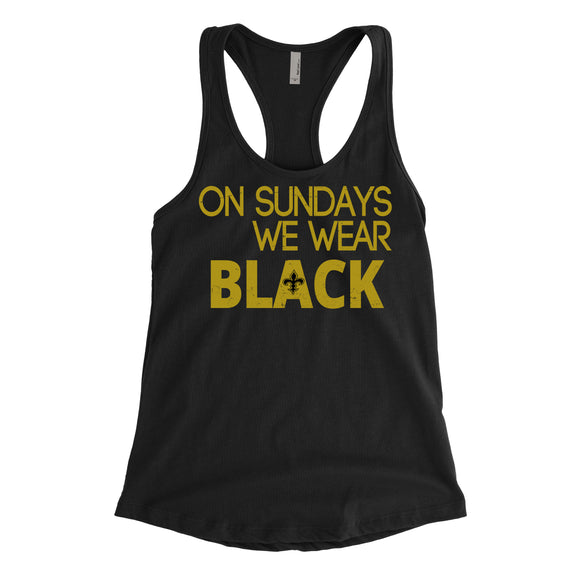On Sunday's we wear black | Ladies Racerback Tank