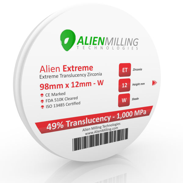 Alien Extreme Translucency 98mm Zirconia Blocks