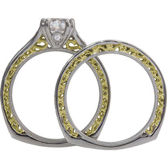 Vintage inspired filigree in two tone wedding set.