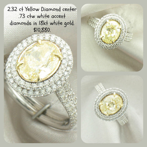 2.32 ct Fancy Yellow Diamond with .75 ctw of white accent diamonds