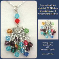 Custom Birthstone Pendant in White Gold & Swarovksi Crystals