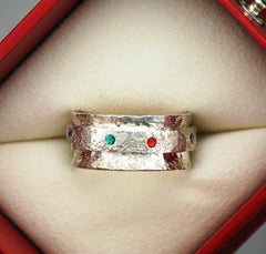 Hammered Sterling Birthstone Ring at Chimera Design