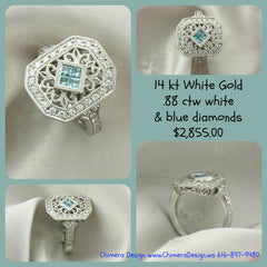 Vintage inspired white & blue diamond ring.