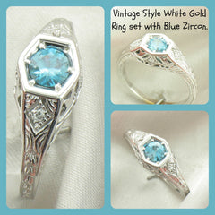Natural Blue Zircon Engagement Ring