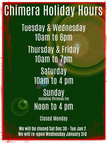 Chimera Design Holiday Hours 2017