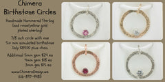 HANDMADE BIRTHSTONE PENDANTS BY JULIE CLAIRE DEVOE AT CHIMERA DESIGN