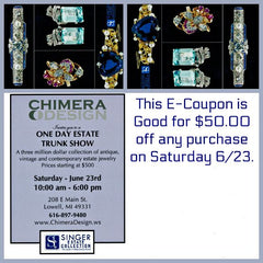 $50 off Coupon For MASSIVE One Day Estate Jewelry Sale at Chimera Design