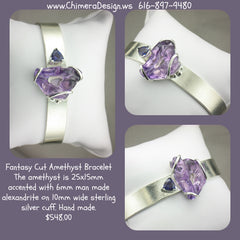 CUSTOM STERLING BRACELET WITH FANTASY CUT AMETHYST BY JULIE CLAIRE DEVOE