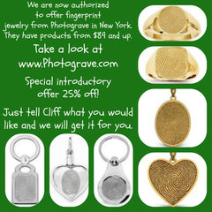 Fingerprint jewelry in stainless steel, sterling silver or white/yellow/rose gold at Chimera Design.