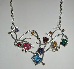 Freeform Sterling Birthstone Pendant