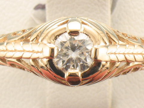 Vintage inspired 14kt yg ring with Moissanite center gem