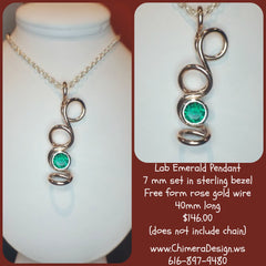 HANDMADE ROSE OVER STERLING PENDANT AT CHIMERA DESIGN