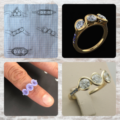 First a sketch, the CAD Images and finally a finished custom made ring