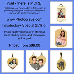 Photo engraved jewelry from $89 at Chimera Design.