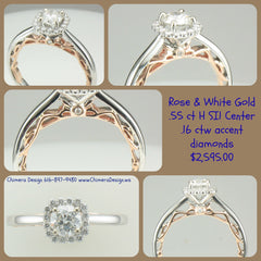 Striking Rose & White gold ring with .55 ct center diamond.