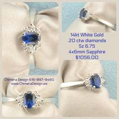 White Gold Ring Set With Sapphire & Diamonds