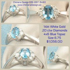 White Gold Ring With Blue Topaz & Diamonds