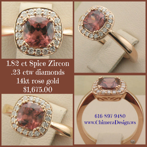 Spice Zircon Set In A Rose Gold Diamond Halo Ring