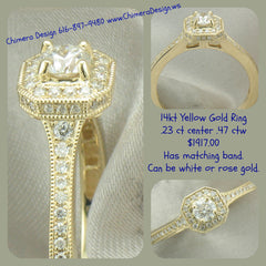 14kt Yellow Gold Vintage Inspired Diamond Ring
