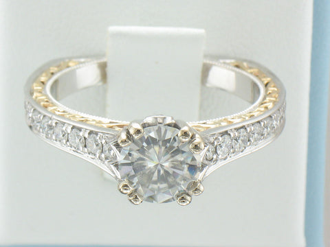 1 carat size colorless Moissanite ring