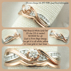 14kt rose and white gold wedding set $1,540.00