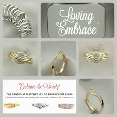 Loving Embrace curved wedding bands fit 95% of all curved engagement rings.