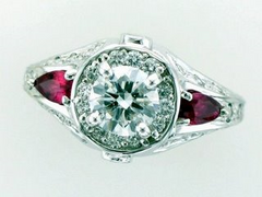 Custom Diamond & Ruby Engagement Ring