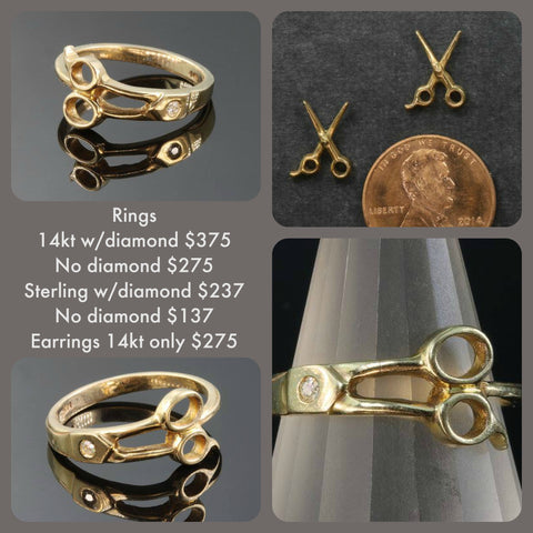 Scissor rings and earrings in 14kt gold and sterling silver.