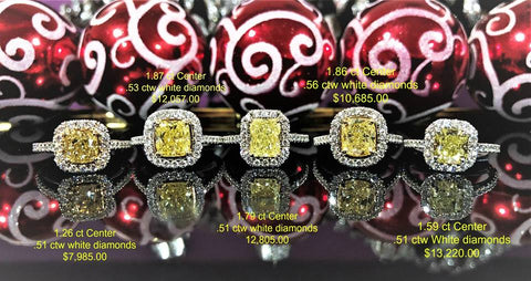 Look at this assortment of fancy yellow diamond engagement rings.
