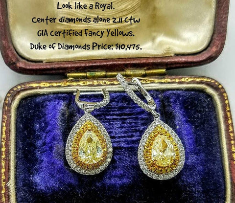 2.11 ctw Fancy Yellow Diamond Earrings at Chimera Design