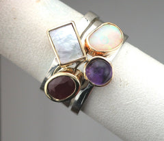 Two Gold Custom Birthstone Ring