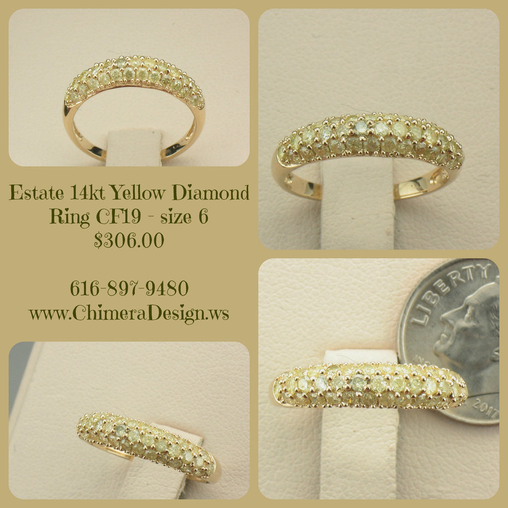 Mint Condition Yellow Diamond Ring in 14kt Gold