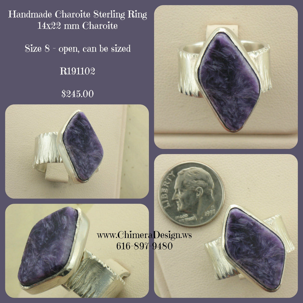 Handmade Charoite Ring In Sterling Silver