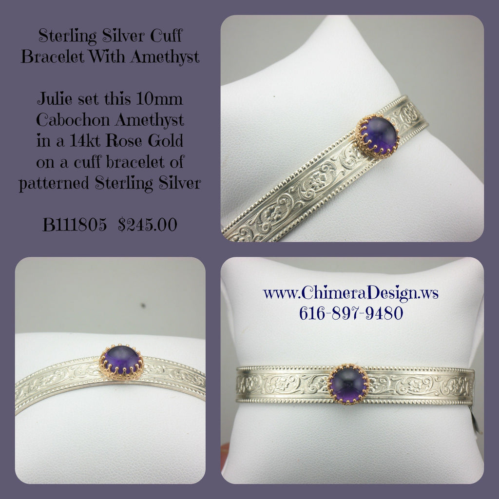 Sterling Cuff With Rose Gold Mounted Cabochon Cut Amethyst