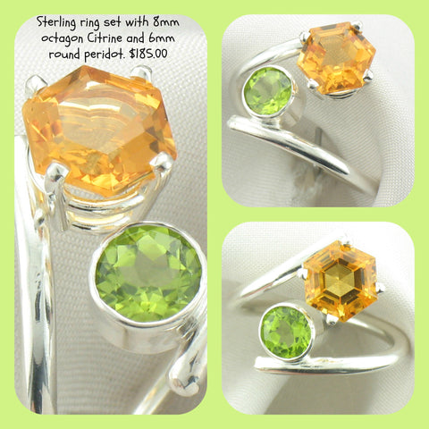 Handmade Sterling By Pass Ring With Octagon Citrine & Round Peridot
