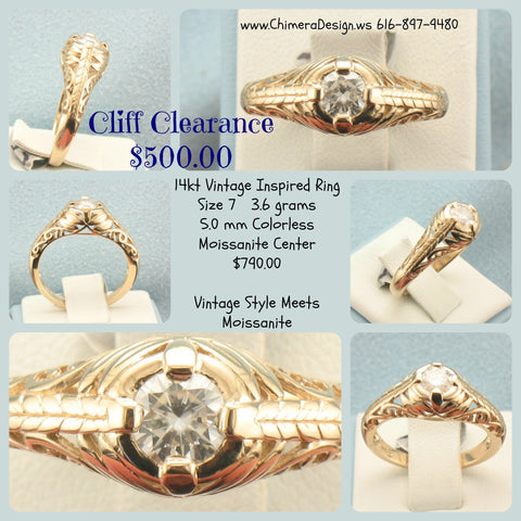Gold Vintage Inspired Ring With Moissanite Center - SALE PRICED