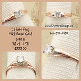 14kt Rose Gold Estate Diamond Ring