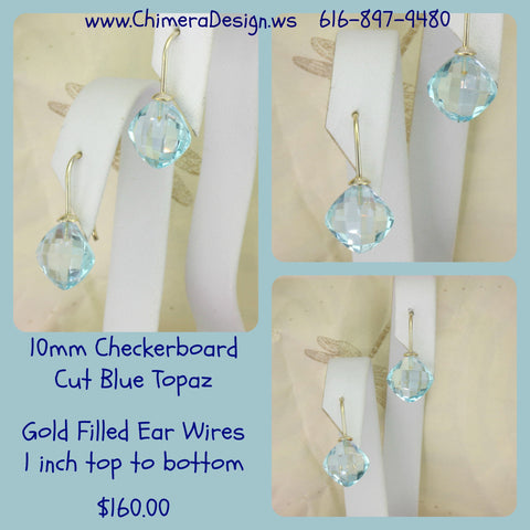 Checkerboard Cut Blue Topaz Earrings