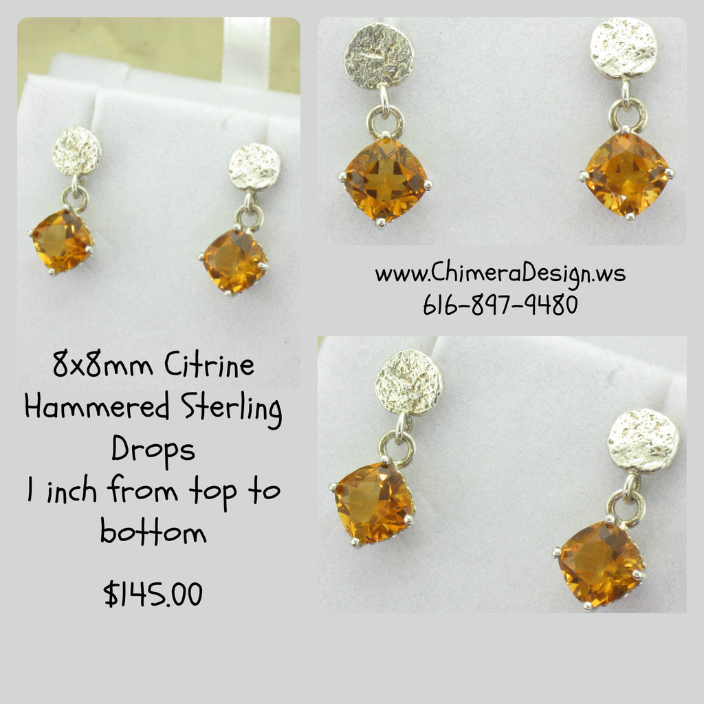 Handmade Citrine Earring Dangles In Sterling