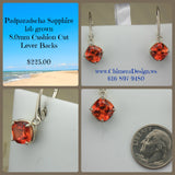 Lab Grown Padparadscha Sapphire Earrings in Sterling Silver