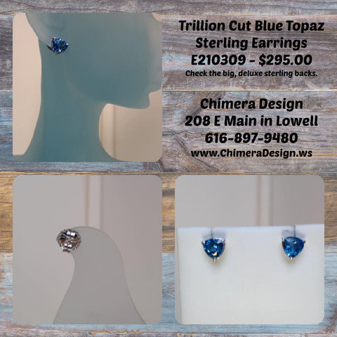 Big, Bold Trillion Cut Blue Topaz Sterling Silver Earrings