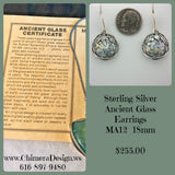 Sterling Earrings With Ancient Roman Glass