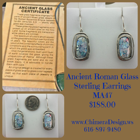 Rectangular Sterling Earrings Set With Ancient Roman Glass