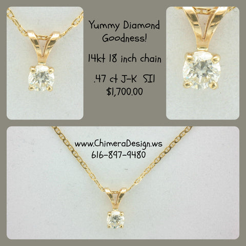 .47 ct Diamond Pendant on 18 Inch Chain