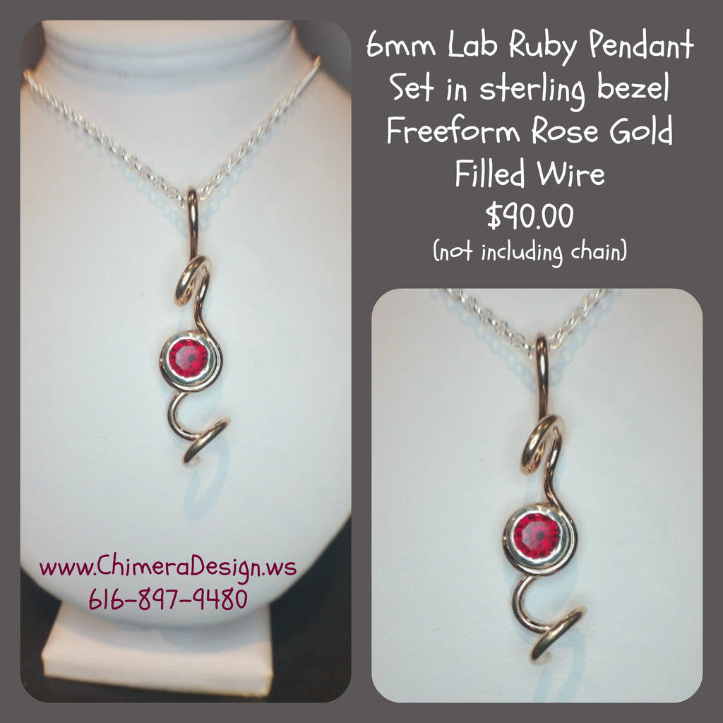 Lab Created Ruby Pendant in Sterling Silver and Rose Gold Filled Wire