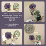 One Of A Kind - Checkerboard Cut Green Quartz & Amethyst Ring