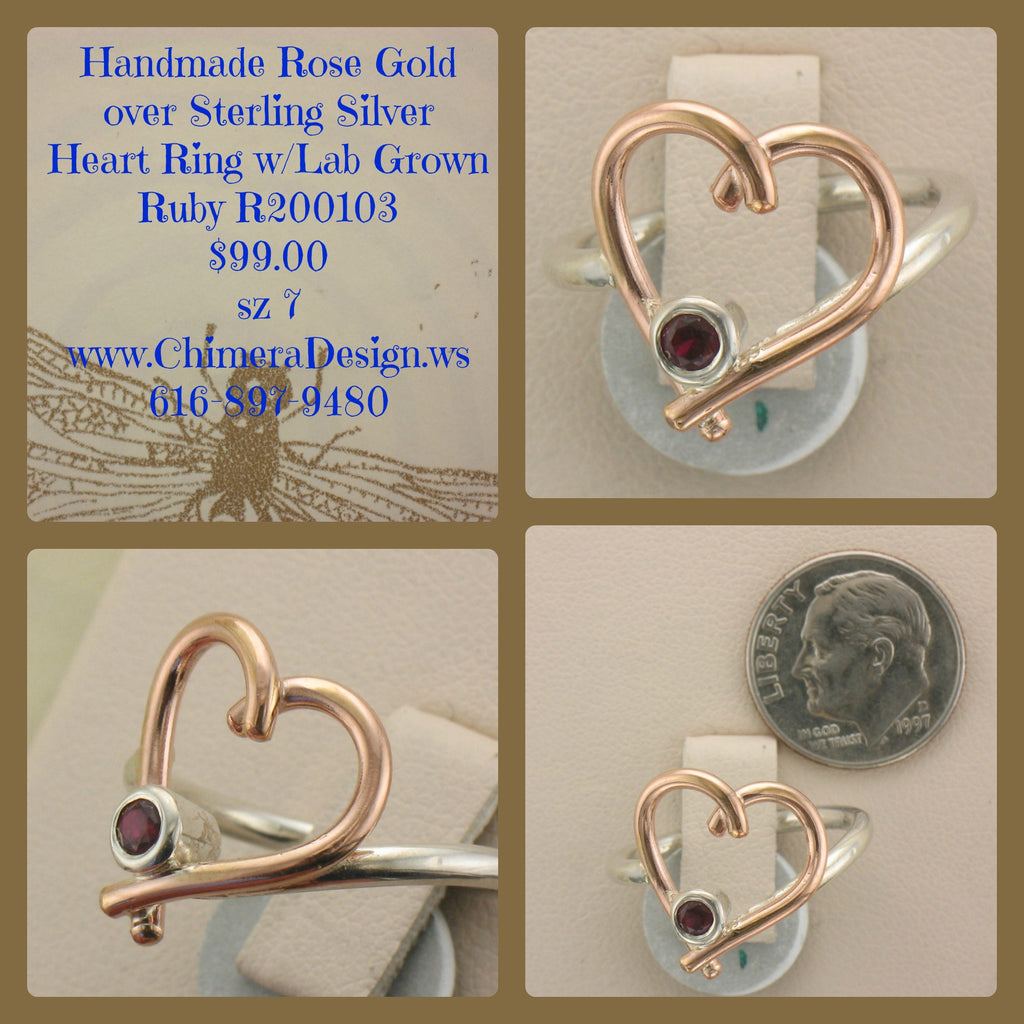 Rose Gold over Sterling Heart Shape Ring With Lab Ruby