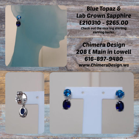 Blue Topaz Studs With Lab Grown Blue Sapphire Dangles In Sterling Silver