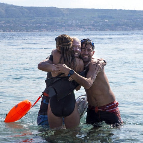 Sir Richard Branson and his 3 kids, Princess Beatrice of York with Actor Adrian Grenier completed a 1.9-mile open ocean swim challenge across Italy's Strait of Messina